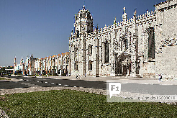 Portugal  Lisbon  View of Praca do Imperio and Jeronimos Monastery in background
