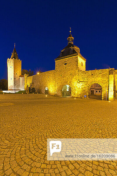 Germany  Thuringia  Muhlhausen  View of city wall at night