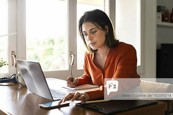 Businesswoman using smart phone while working at home