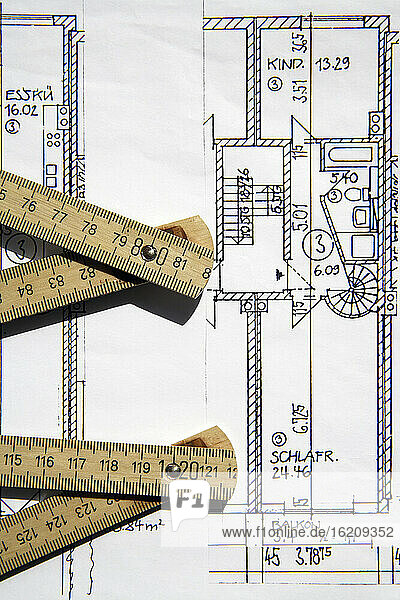 Architect's plan and folding rule  close-up