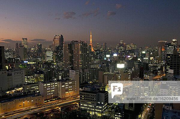 Japan  Tokyo skyline  Tokyo tower at night