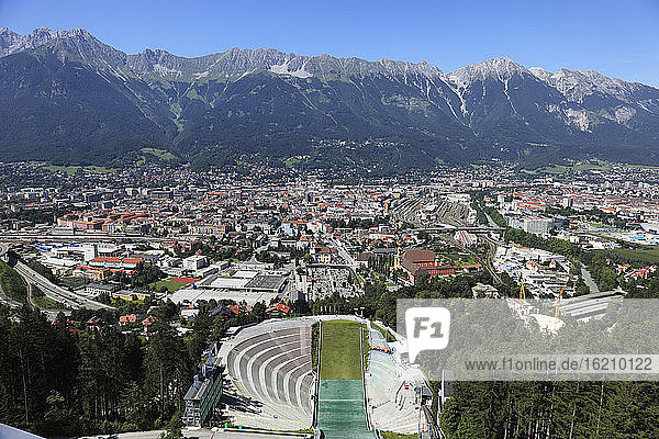 Austria  Tyrol  View from ski-jump stadium and karwendel mountains