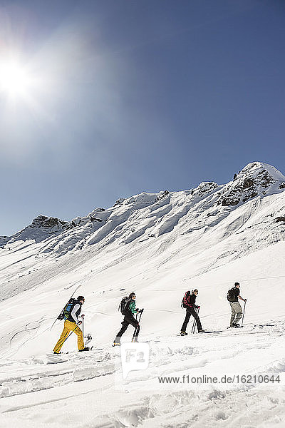 Group of friends ski touring up to a mountain peak  Achenkirch  Austria