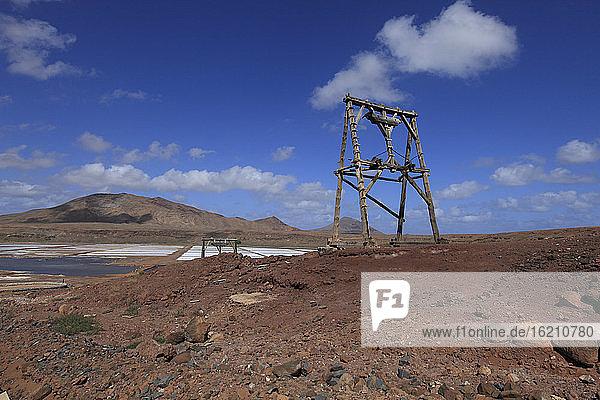 Afrika  Kap Verde  Sal  Blick auf die Salinen von Pedra de Lume