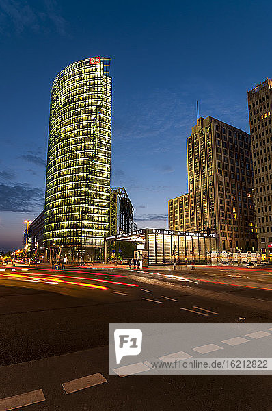 Germany  Berlin  View of Potsdamer Platz square at night