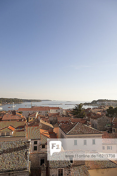 Croatia  View from tower of Euphrasian Basilica on old town of Porec