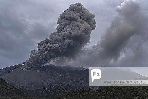 Japan  View of eruption at Sakurajima