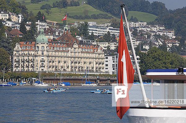 Switzerland  Lucerne  Vierwaldstätter See  Palace Hotel on the waterfront