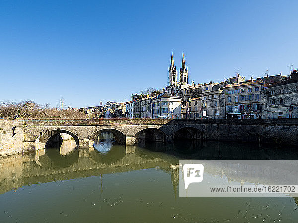Cathedral reflecting in the river  Niort  France / Cathedral reflecting in the river  Niort  France
