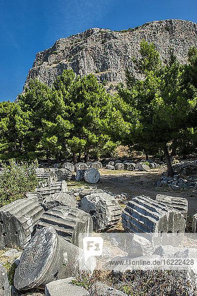 Turkey,  Ionia,  Priene Greek city,  ruins of the temple of Athena (350 BC)