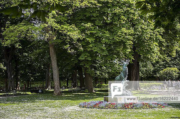 Hirschskulptur als Allegorie auf die Jagdzeit  Luxemburger Gärten  Paris  Frankreich
