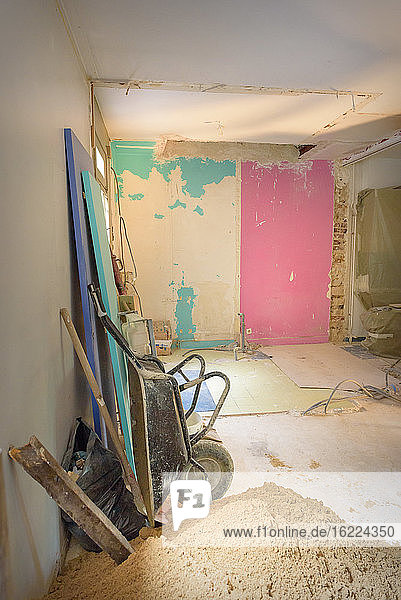 Renovation on progress in an old individual house in France