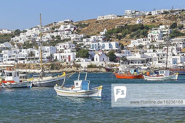 Stadtansicht  alter Hafen  Mykonos  Kykladen  Griechenland  Europa