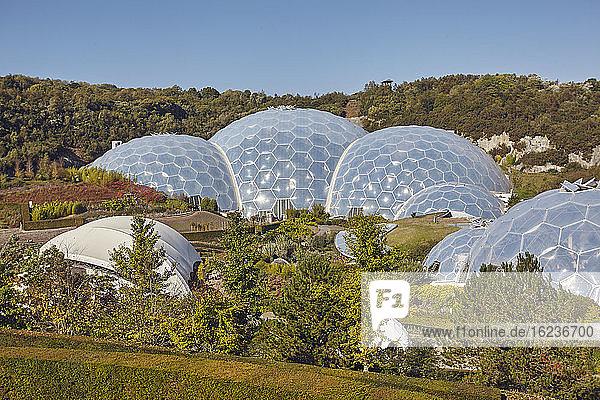 Ein Blick auf die Kuppel  aus der das Tropenbiom besteht  beim Eden-Projekt in der Nähe von St. Austell  Süd-Cornwall  England  Vereinigtes Königreich  Europa