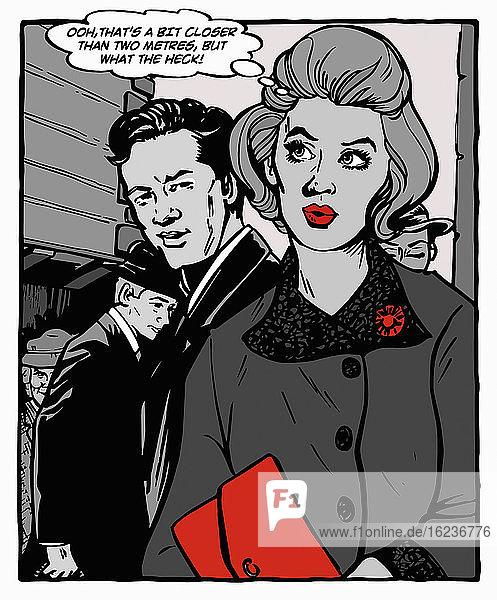 Frau bemerkt attraktiven Mann Social Distancing-Regel bricht