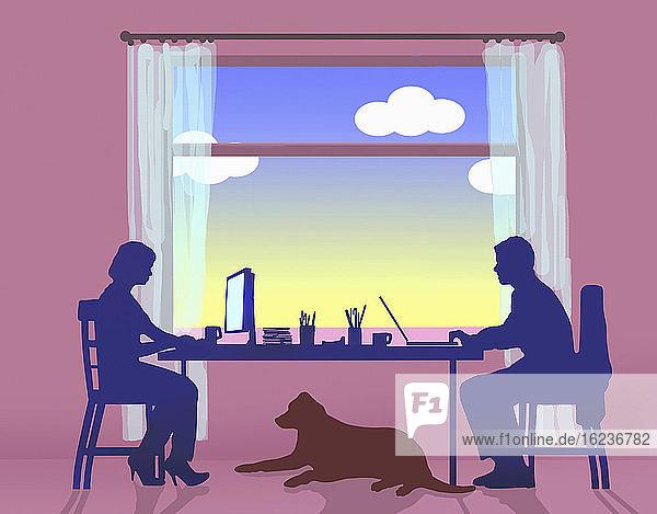 Ehepaar arbeitet von zu Hause aus