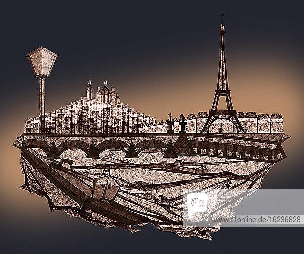 Pariser Szene in gefaltetem Papier