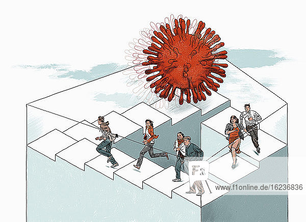 Menschen versuchen über eine endlose Treppe dem Coronavirus zu entkommen