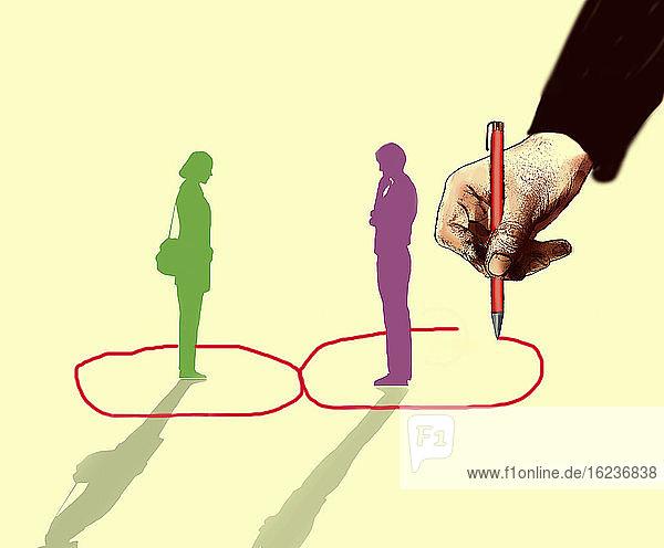 Hand zeichnet getrennter Kreise um Mann und Frau