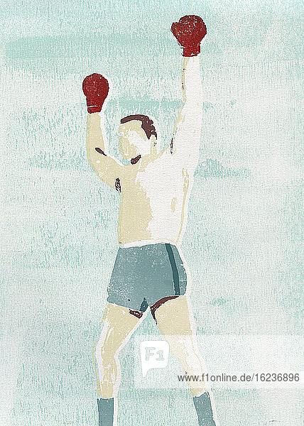 Siegreicher Boxer mit erhobenen Armen