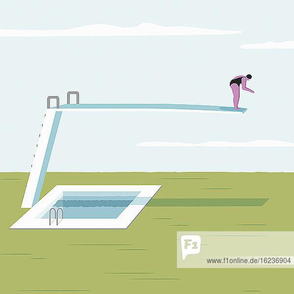 Frau auf langem Sprungbrett über festem Boden