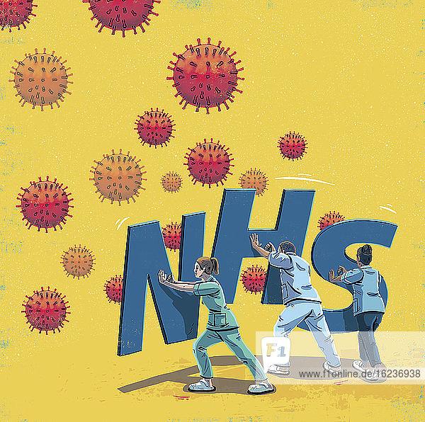 Beschäftigte im Gesundheitswesen mit NHS-Schutzschilden gegen Coronavirus