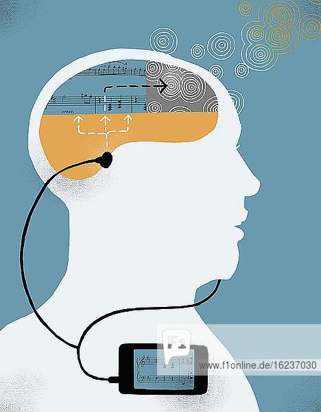 Mann genießt es  Musik auf einem Smartphone zu hören
