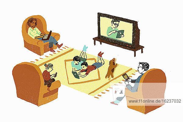Alltägliche Familienszene mit jedem an eigenen digitalen Geräten