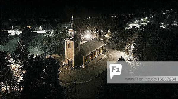 Illuminated church at night