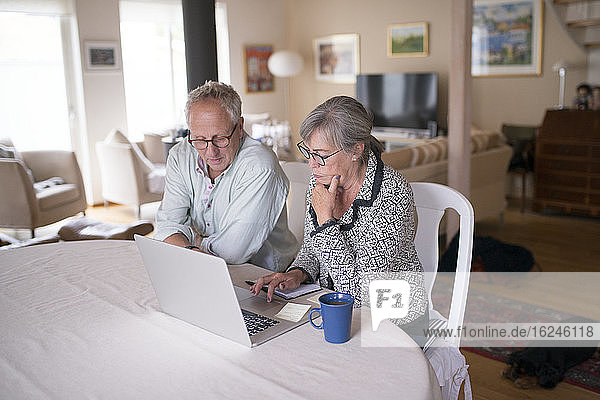 Älteres Paar benutzt Laptop