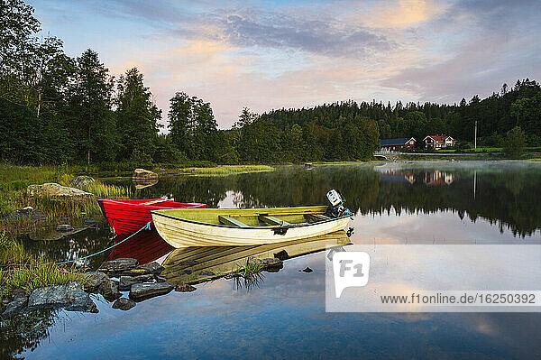 Rowing boats moored at lake