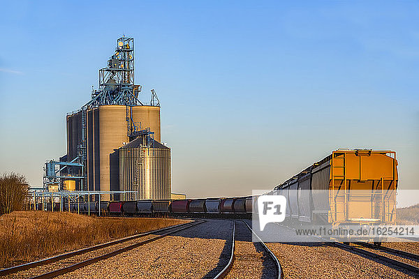Hopper Wagon on a train approaching a grain storage facility; Alberta  Canada
