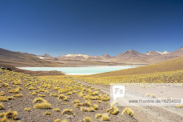 Gravel road leads to a high altitude laguna in the middle of a colourful South American landscape in the Andes  Eduardo Avaroa Andean Fauna National Reserve; Potosi  Sur Lipez  Bolivia