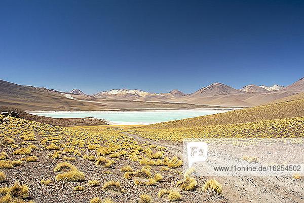 Schotterstraße führt zu einer hochgelegenen Lagune inmitten einer farbenprächtigen südamerikanischen Landschaft in den Anden  Eduardo Avaroa Andenfauna-Nationalreservat; Potosi  Sur Lipez  Bolivien