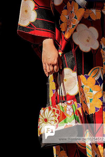 Details der Handtasche und des Geisha-Kleides einer japanischen Frau in einem Tempel; Tokio  Japan