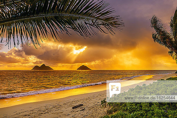 Sunrise viewed from Lanikai Beach with a view of the Mokulua Islands off the coast; Oahu  Hawaii  United States of America