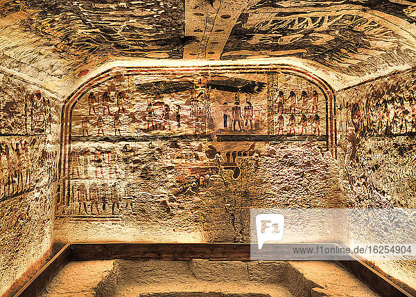 Frescoes  Burial Chamber  Tomb of Ramses IX  KV6  Valley of the Kings  UNESCO World Heritage Site; Luxor  Egypt