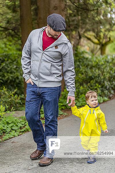 Vater hält bei einem Spaziergang im Park mit seiner kleinen Tochter Händchen; North Vancouver  Britisch-Kolumbien  Kanada