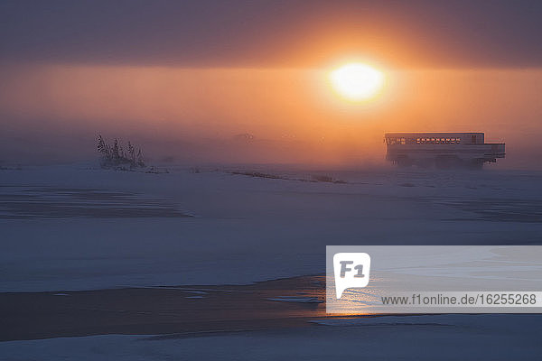 Sunset illuminates the blowing snow as a tour buggy makes its way home along the coast of Hudson bay; Churchill  Manitoba  Canada
