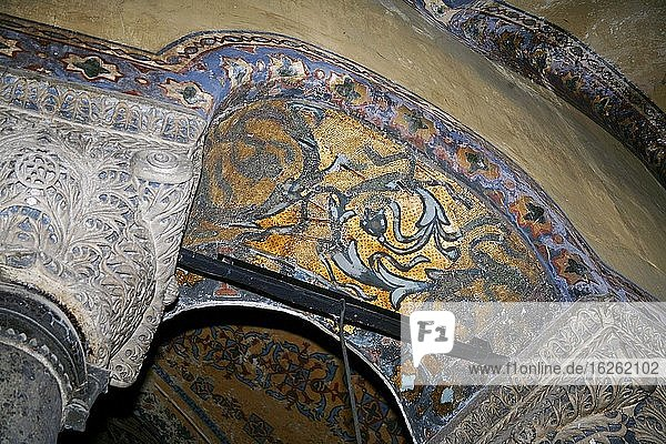 Mosaic and paintings in Hagia Sophia Mosque / Church in Istanbul. Turkey.