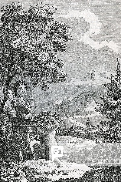 Cover picture of Albrecht von Haller's poems  Bern 1777  Historical illustration from Otto von Leixner: Illustrated history of German literature  Leipzig and Berlin 1880  Germany  Europe