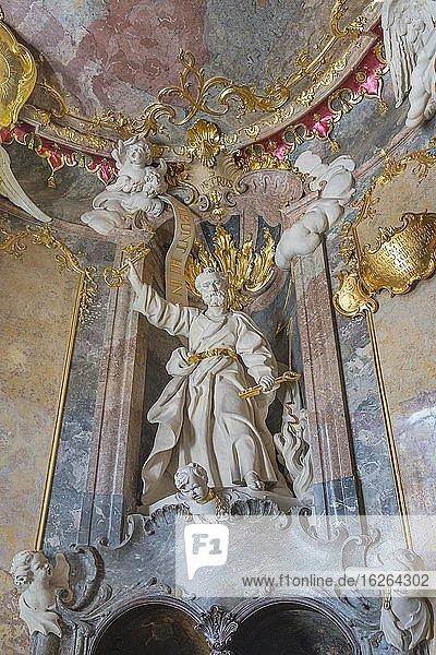 Holy figure in the anteroom  Peter with keys  Baroque St.Johann Nepomuk church  Asam church  Sendlinger Str. Munich  Upper Bavaria  Bavaria  Germany  Europe