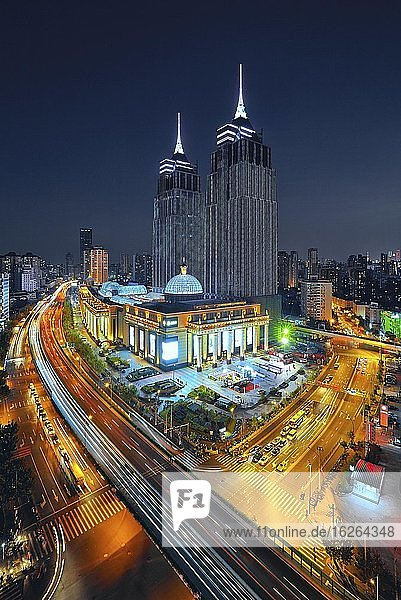 Night view  Global Harbor shoppingmall  Shanghai  China  Asia