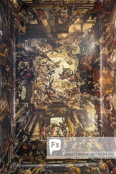 Ceiling painting in church San Pantaleon  Dorsoduro  Venice  Italy  Europe