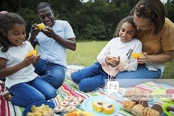 Glückliche Familie genießt Dessert auf einer Picknickdecke im Park