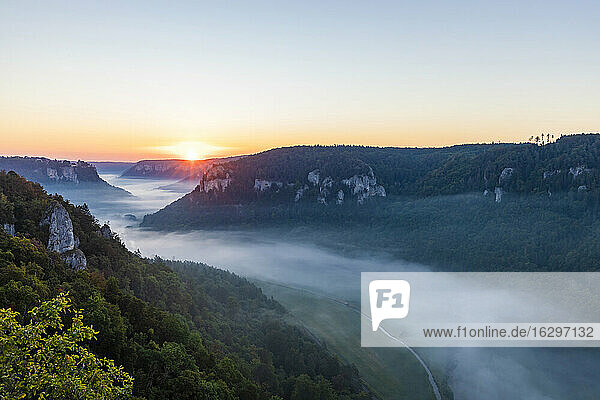 Germany  Baden-Wurttemberg  Scenic view of Danube Valley shrouded in fog at summer sunrise
