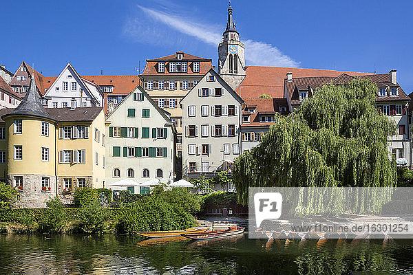 Germany  Baden-Wuerttemberg  Tuebingen  Hoelderlin tower  Collegiate church  Neckar river and punt boats