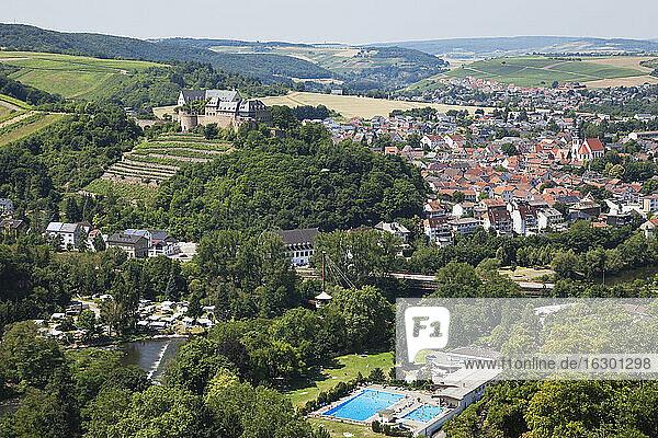 Germany  Rhineland-Palatinate  Bad Munster am Stein-Ebernburg  Ebernburg at Nahe river  open-air bath