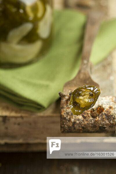 Pickled Jalapeno-Chilis (Capsicum annuum) in a jar  slice of jalapeno on fork  studio shot
