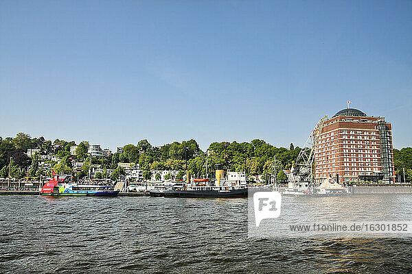 Germany  Hamburg  Oevelgoenne  Pier at the Elbe river
